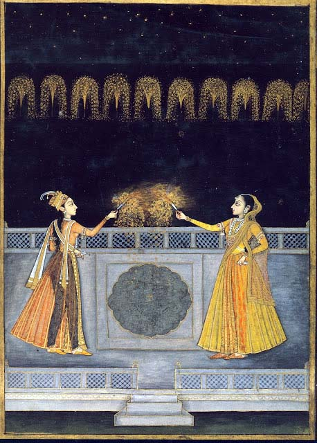 In this painting (circa 1740), two Mughal ladies celebrate with sparklers.